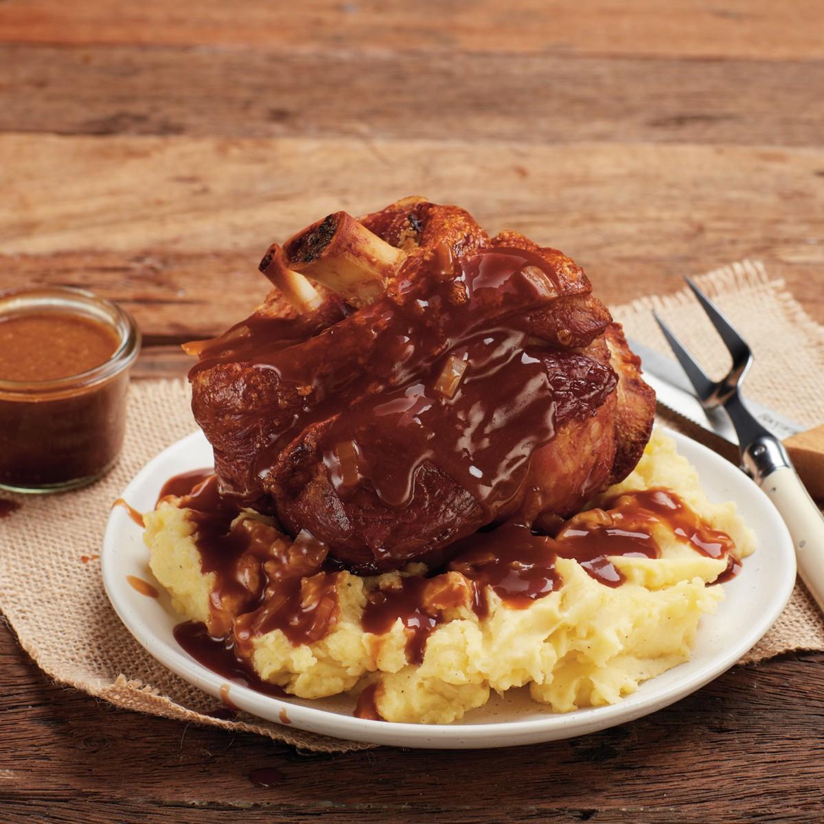German Pork Knuckle with Bier Gravy - Three Aussie Farmers Slow Cooked German Pork Knuckle