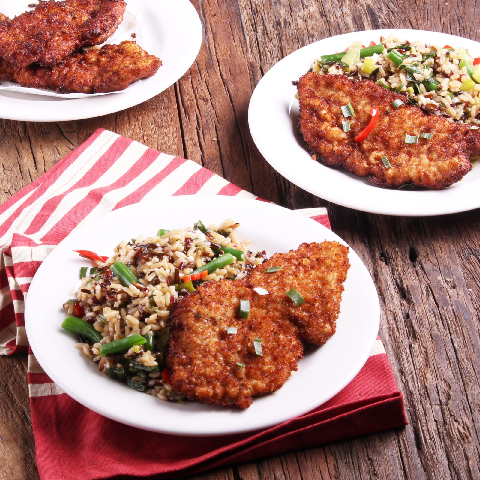 Schnitzel With Buttered Wild Rice And Green Beans - Three Aussie Farmers Lightly Seasoned Pork Schnitzel