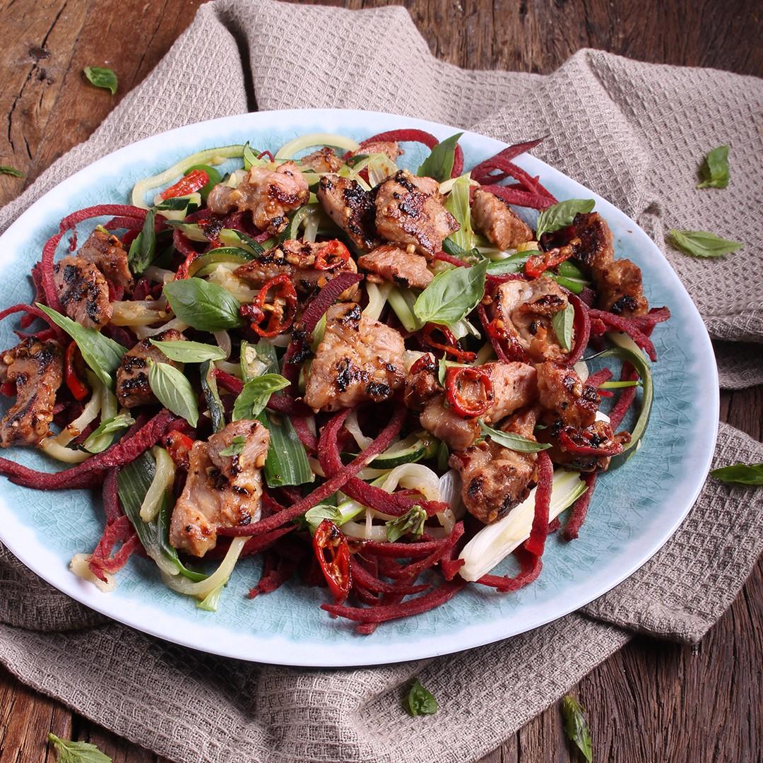 Honey Pepper & Ginger Pork Stir-Fry With Veggie Noodles - Three Aussie Farmers Pork Scotch Fillet in Honey Pepper Glaze