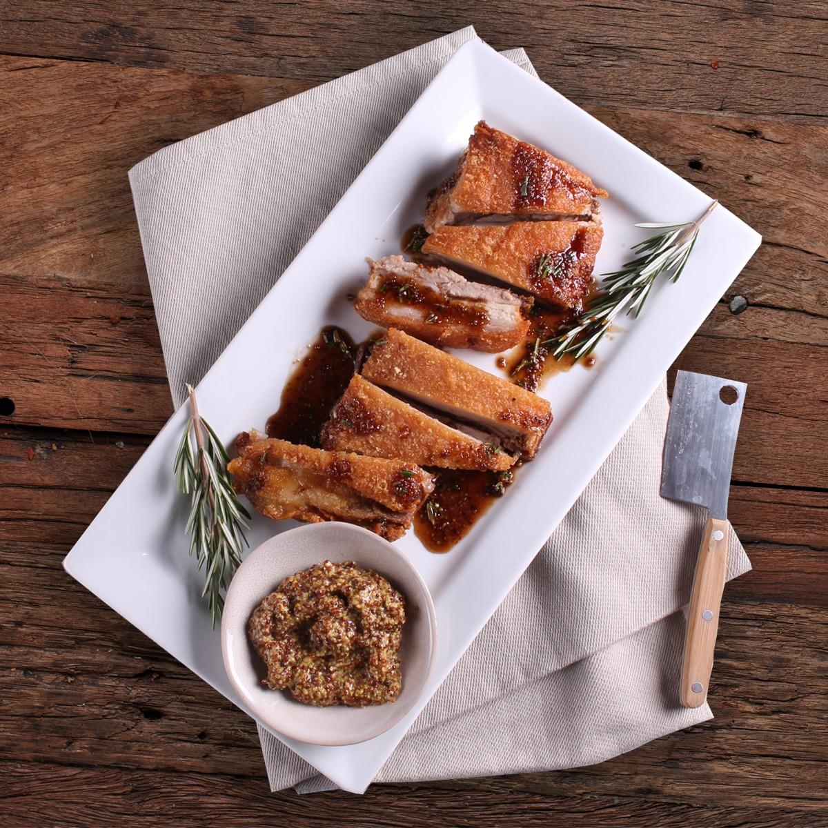 Maple Mustard Pork Belly - Three Aussie Farmers Slow Cooked Pork Belly