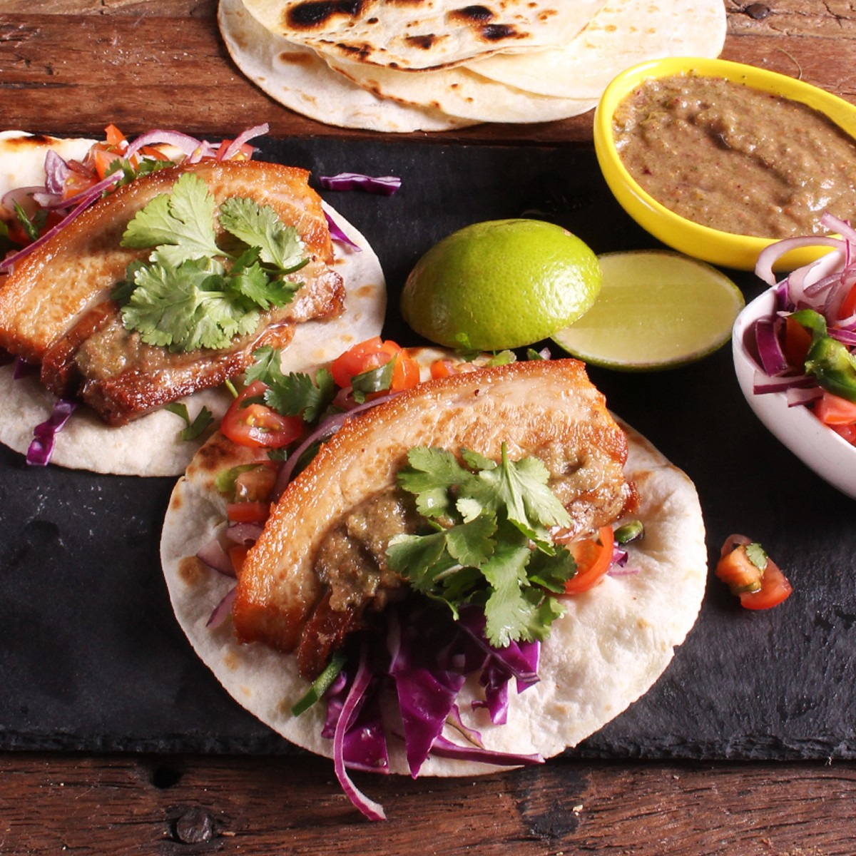Pork Belly Tacos With Jalapeño Sauce - Three Aussie Farmers Slow Cooked Pork Belly