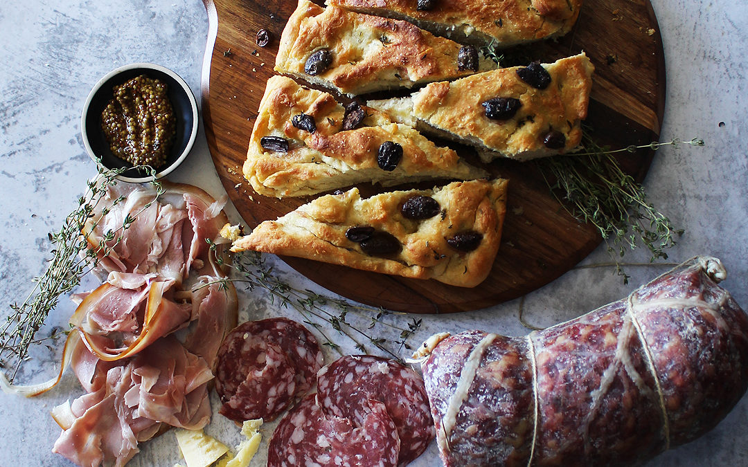 Charcuterie Board with Homemade Olive Focaccia Bread