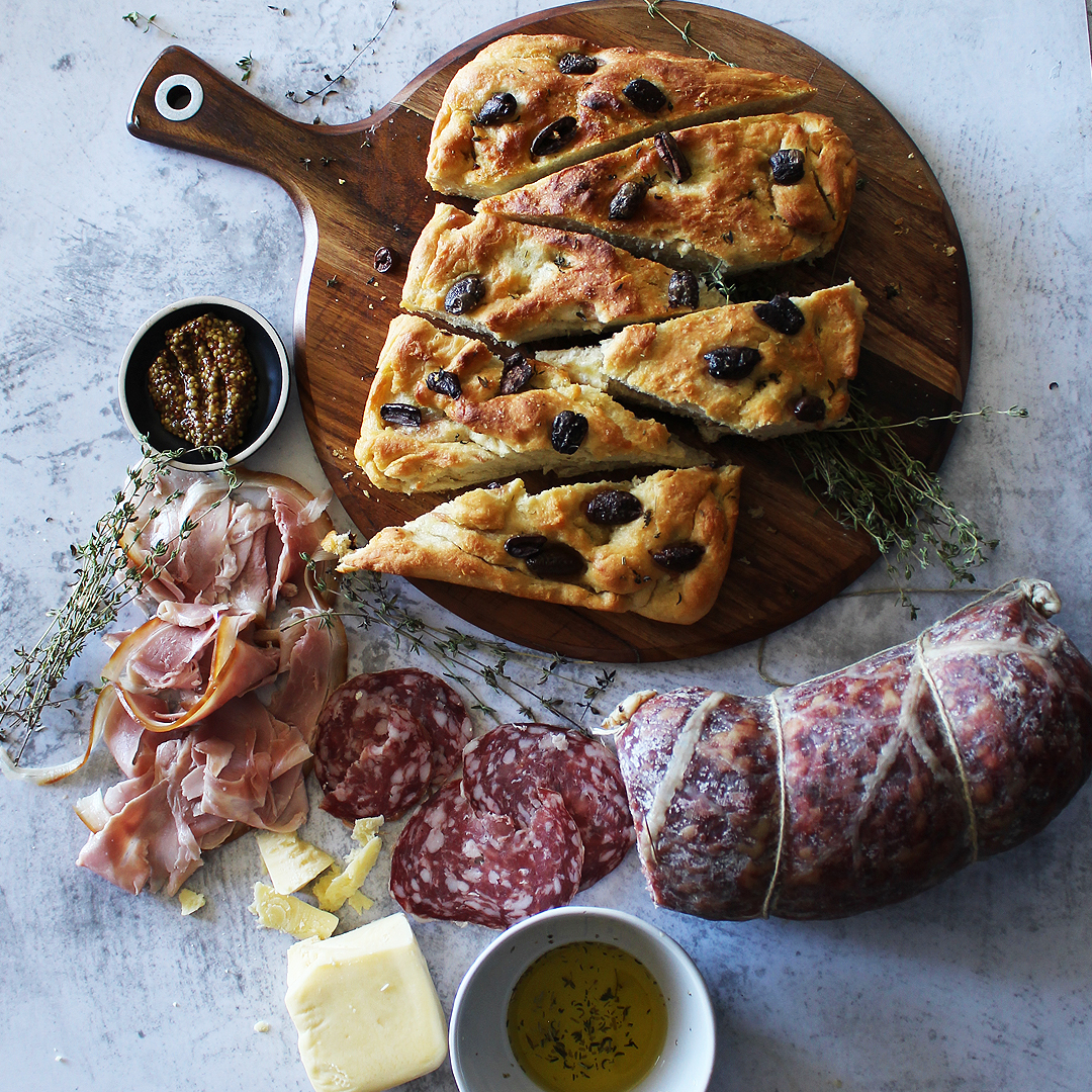 Charcuterie Board with Homemade Olive Focaccia Bread - Leg Ham