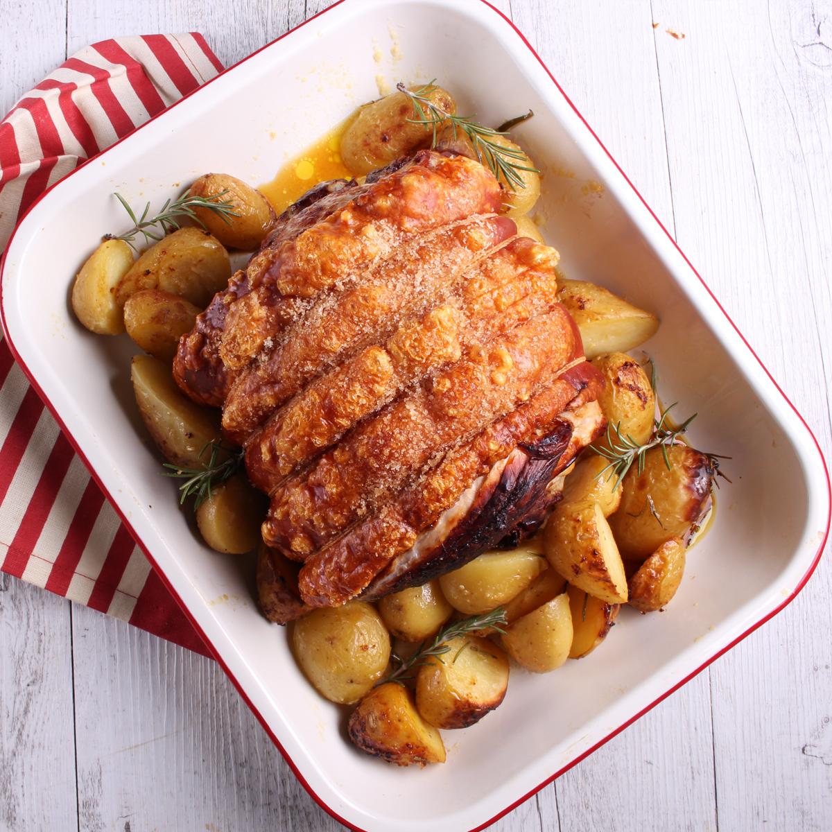 Leg Roast with garlic butter potatoes - leg roast