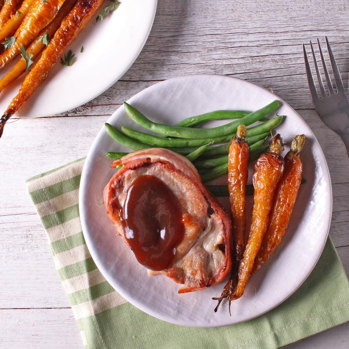 BBQ Pork Fillet Mignon with Roasted Dutch Carrots - Loin steak
