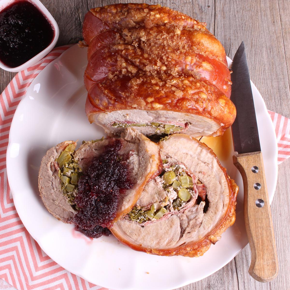 Stuffed Pork Loin Roast with Cranberry Orange Sauce - pork loin roast