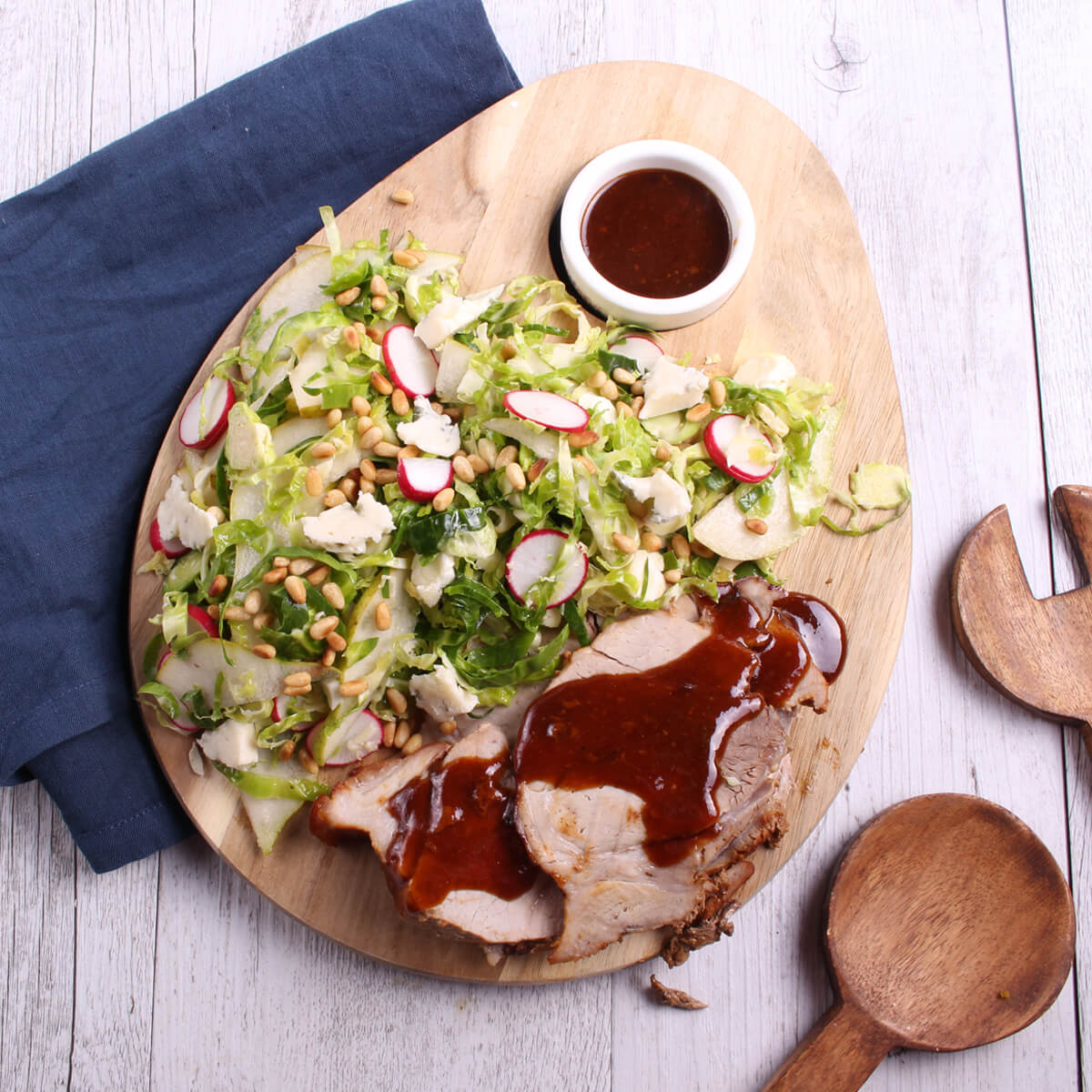 Roast with brussels sprout salad- - Forequarter roast