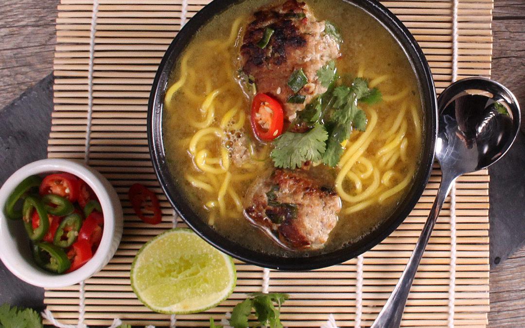 Pork Meatballs in Ginger Noodle Soup