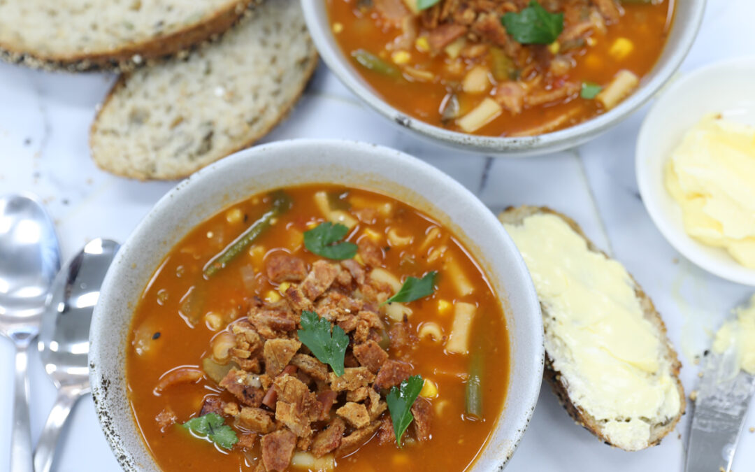 Minestrone Soup with Pork Crackle Crumb
