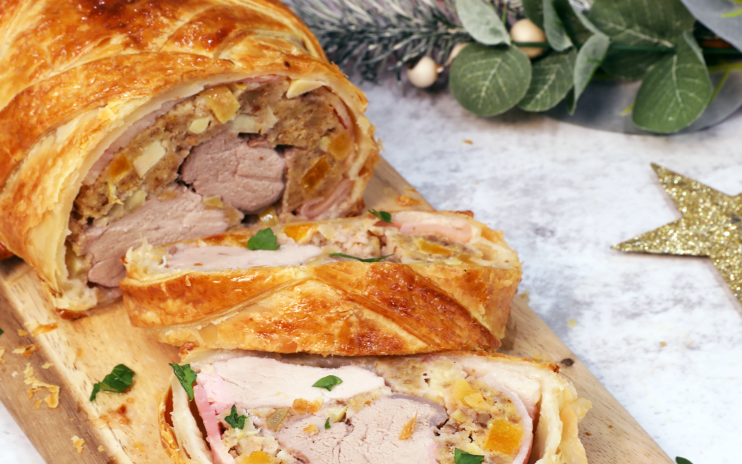 Pork Wellington with Apple and Apricot Stuffing