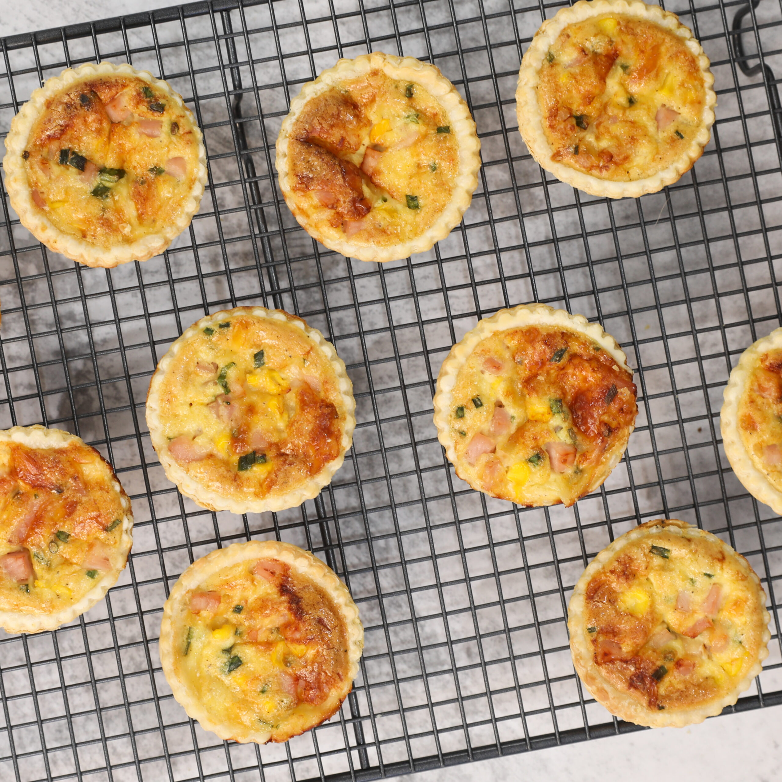 Ham Cheese and Corn Quiches