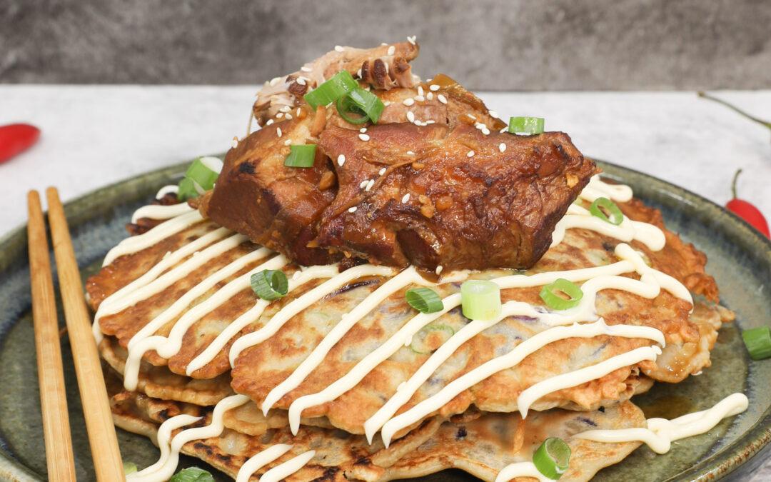 Miso Braised Pork Cheeks with Okonomiyaki Japanese Pancakes