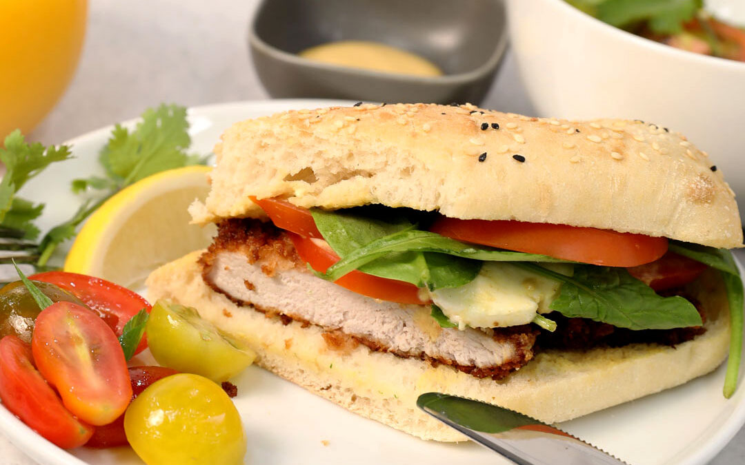 Milanese Style Pork Sandwich with Tomato Salad