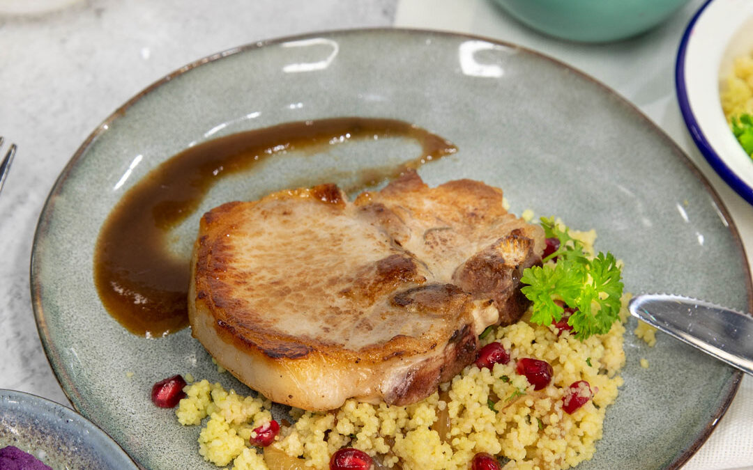 Pork Chops with Coriander and Pomegranate Cous Cous