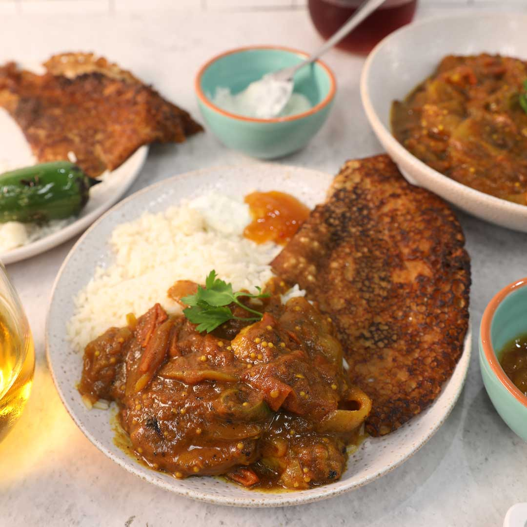 SunPork African Curry with Injera Pancakes