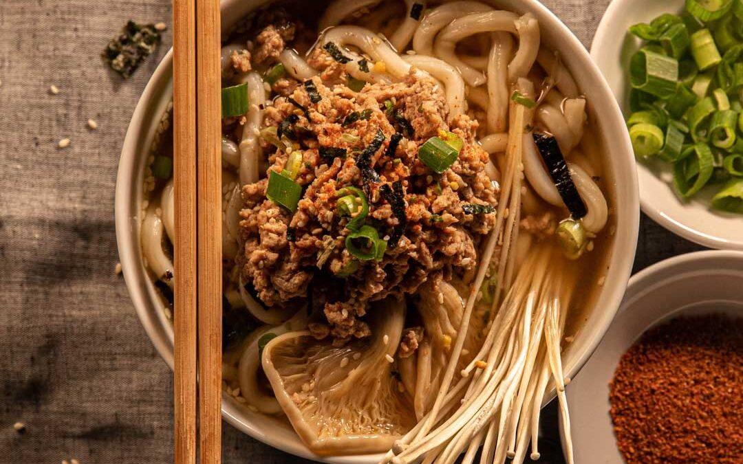 Pork & Mushroom Udon Noodle Soup