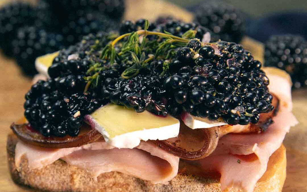 Ham, Bacon and Blackberry Open Sandwich with Honey