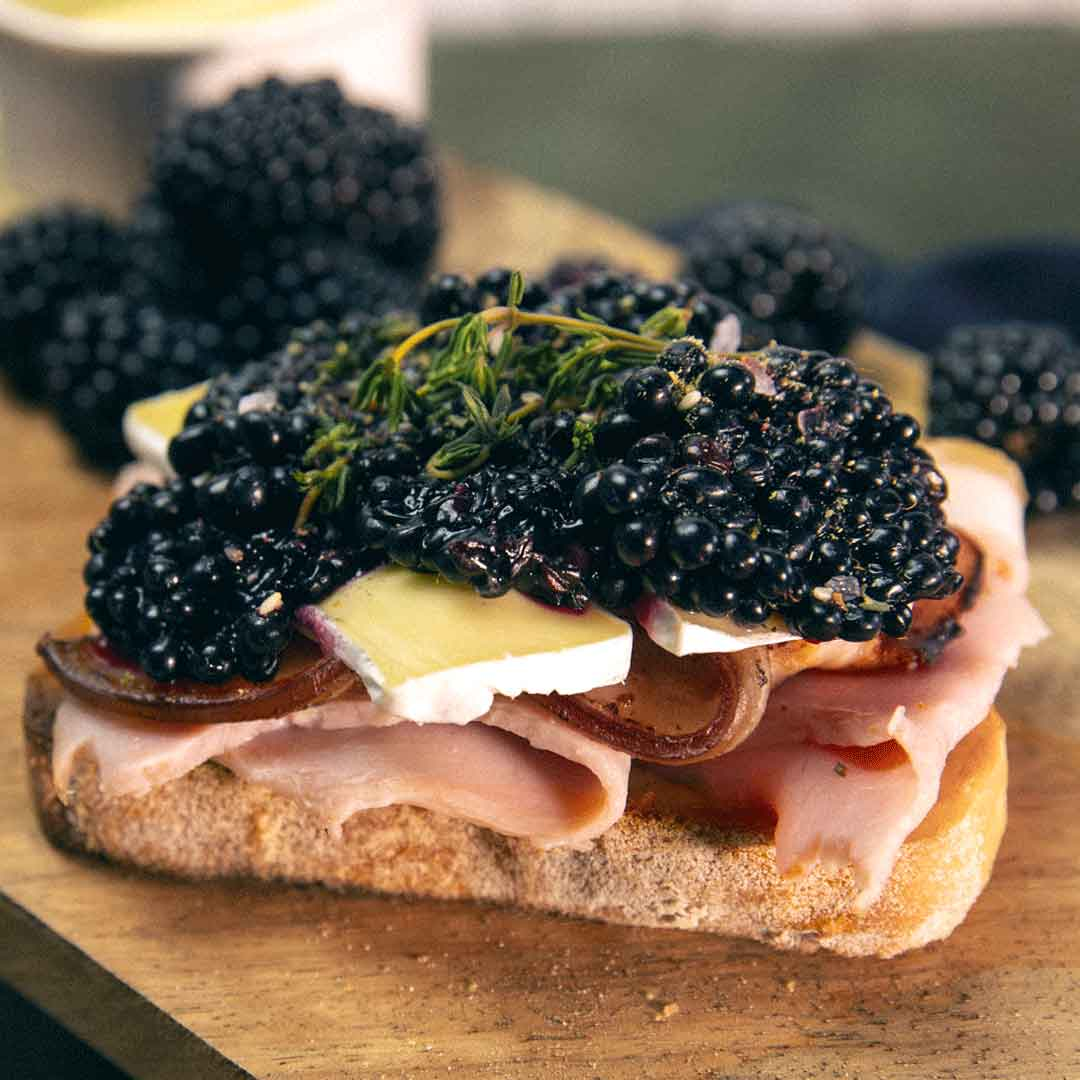 SunPork Fresh Foods - Ham Bacon Blackberry Open Sandwich